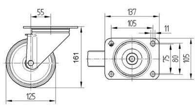 Roata pivotanta cu janta din aluminiu 125x161mm - Schita 1
