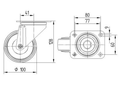 Roata pivotanta cu janta din aluminiu 100x128mm - Schita 1