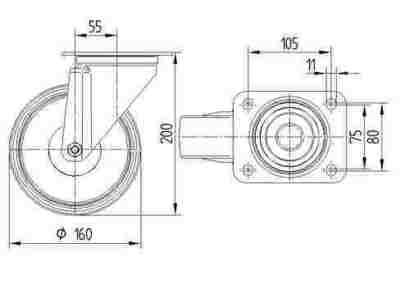 Roata pivotanta cu janta din aluminiu 160x200mm - Schita 1