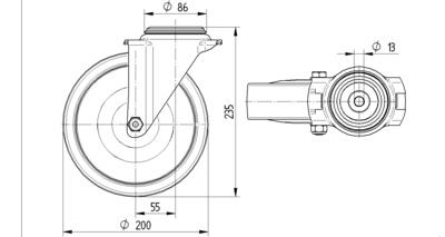 Roata pivotanta din polipropilena 200x235mm - Schita 1