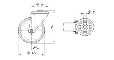 Roata pivotanta cu janta din polipropilena 125x155mm - Schita 1
