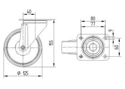 Rola pivotanta cu janta din polipropilena 125x37mm - Schita 1