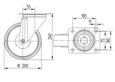 Roata pivotanta cu janta din polipropilena 200x40mm - Schita 1