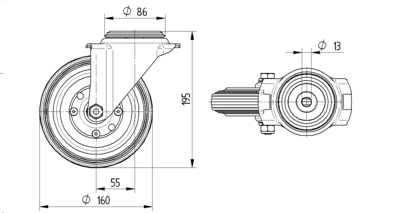 Rola pivotanta cu janta din polipropilena 160x40mm - Schita 1