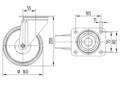 Rola pivotanta cu janta din poliamida 160x200mm - Schita 1