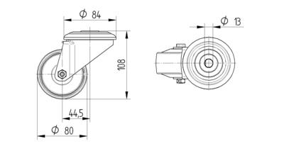 Roata pivotanta cu janta din poliamida 80x108mm - Schita 1