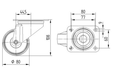 Roata pivotanta din poliamida 80x108mm - Schita 1
