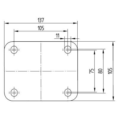 Roata pivotanta cu janta din tabla din otel 200x240mm - Schita 3