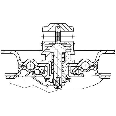 Roata pivotanta cu janta din tabla din otel 200x240mm - Schita 1