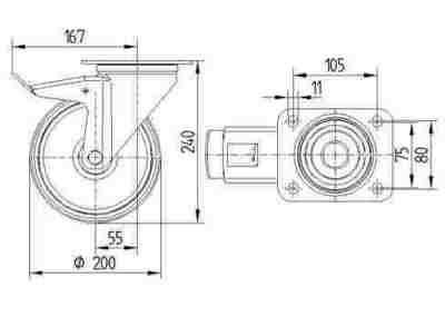Roata pivotanta cu janta din aluminiu 200x240mm - Schita 1
