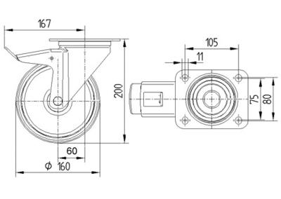 Roata pivotanta cu janta din polipropilena 160x200mm - Schita 1