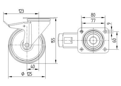 Roata pivotanta silentioasa 125x155mm - Schita 1