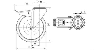 Roata pivotanta cu janta din polipropilena 200x235mm - Schita 1