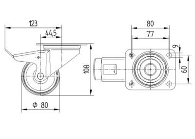 Roata pivotanta cu janta din polipropilena 80x108mm - Schita 1