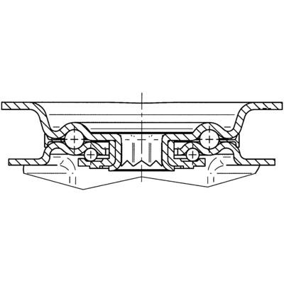 Roata pivotanta cu furca din tabla din otel 100x128mm - Schita 2