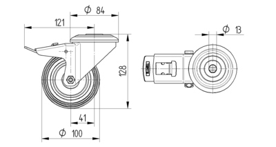 Roata pivotanta cu janta din poliamida 100x36mm - Schita 1