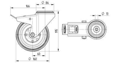 Roata pivotanta cu janta din poliamida 160x195mm - Schita 1