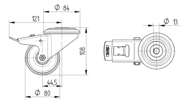 Rola pivotanta din poliamida 80x34mm - Schita 1