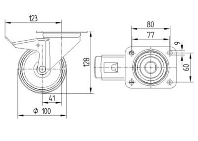 Roata pivotanta silentioasa 100x128mm - Schita 1