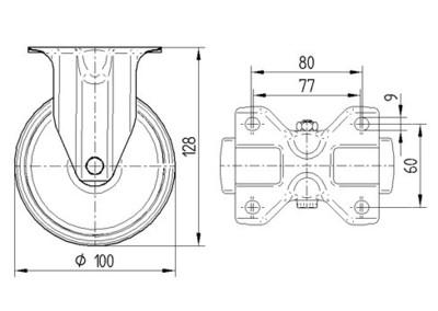 Roata pivotanta cu janta din tabla din otel 100X128mm - Schita 1
