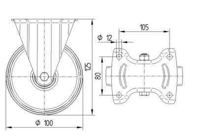 Roata pivotanta cu janta din aluminiu 100x40mm - Schita 1