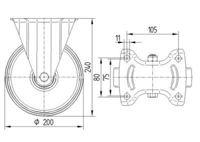 Rola pivotanta cu janta din aluminiu 200x240mm - Schita 1