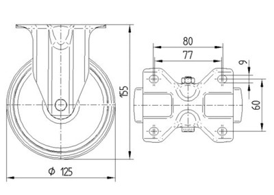 Rola pivotanta din polipropilena 125x37mm - Schita 1
