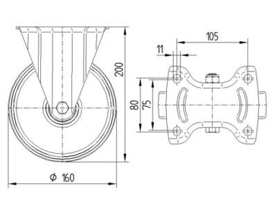 Rola pivotanta cu janta din polipropilena 160x200mm - Schita 1