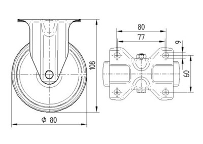 Roata fixa cu janta din poliamida 80x108mm - Schita 1
