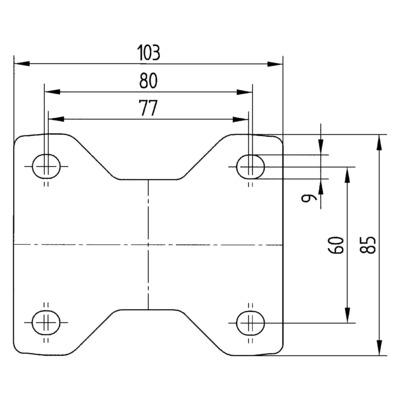 Roata fixa cu janta din poliamida 100x128mm - Schita 2