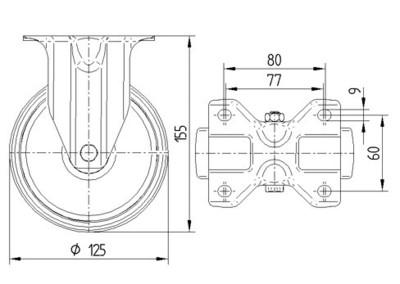 Roata pivotanta cu janta din poliamida 125x155mm - Schita 1