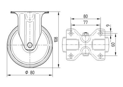 Roata fixa din poliamida 80x108mm - Schita 1