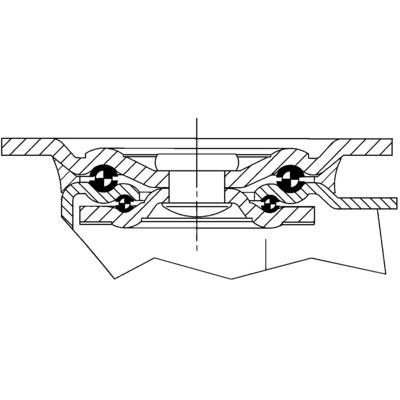 Roata pivotanta din tabla din otel 260x310mm - Schita 1