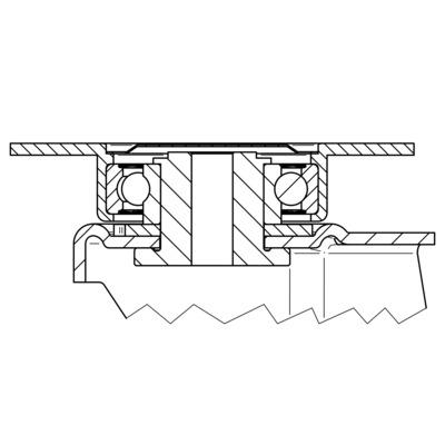 Roata pivotanta cu janta din tabla din otel 160x50mm - Schita 2