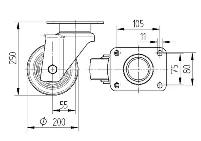 Roata pivotanta cu janta din poliamida 200x50mm - Schita 1