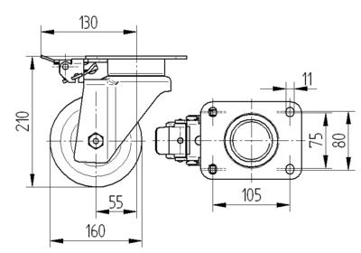 Roata pivotanta cu janta din aluminiu 160x50mm - Schita 1