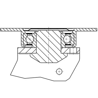 Roata pivotanta cu janta din aluminiu 200x250mm - Schita 1
