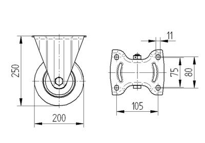 Roata fixa cu janta din aluminiu 200x50mm - Schita 1
