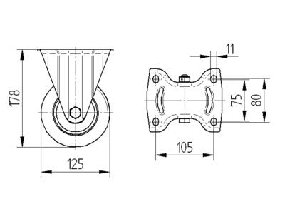 Roata fixa cu janta din poliamida 125x40mm - Schita 1