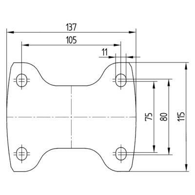 Roata fixa cu janta din poliamida 125x40mm - Schita 2