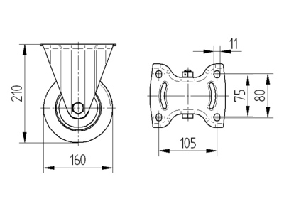 Roata fixa din poliamida 160x40mm - Schita 1
