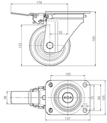 Roata pivotanta cu janta din poliamida 125x50mm - Schita 1