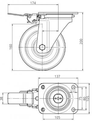 Roata pivotanta cu janta din poliamida 160x50mm - Schita 1