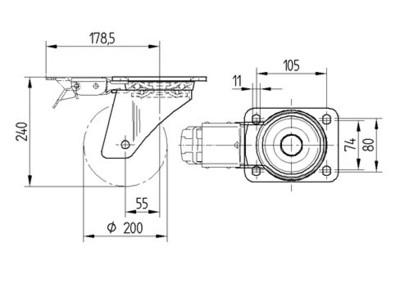 Roata pivotanta din poliamida 200x50mm - Schita 1