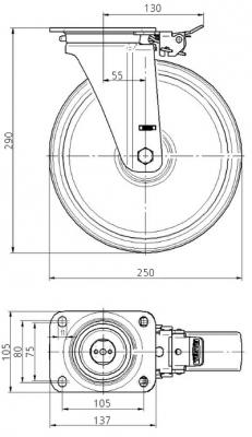 Roata pivotanta din poliamida 250x50mm - Schita 1