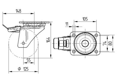 Roata pivotanta cu janta din aluminiu 125x164mm - Schita 1