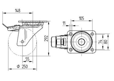Roata pivotanta cu janta din aluminiu 250x55mm - Schita 1