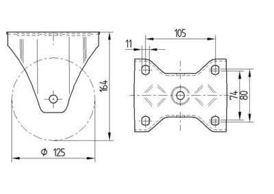 Roata fixa cu janta din aluminiu 125x164mm - Schita 1