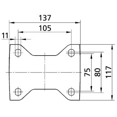 Roata fixa cu janta din aluminiu 125x164mm - Schita 2