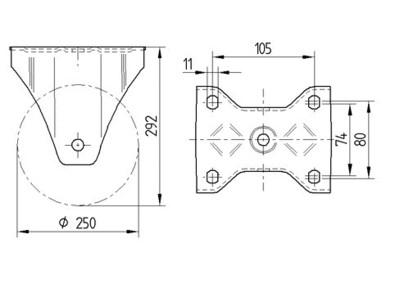 Roata fixa din poliamida 250x50mm - Schita 1